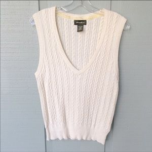 • Eddie Bauer Cable Knit Sweater Vest Angora